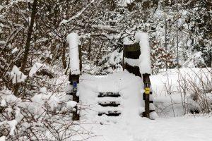 verschneite Brücke